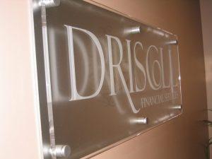 Corporate etch glass vinyl sign