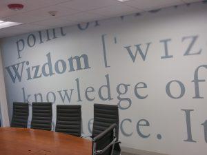 Custom wallpaper in conference room