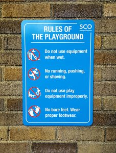 sign for children's safety in public playground