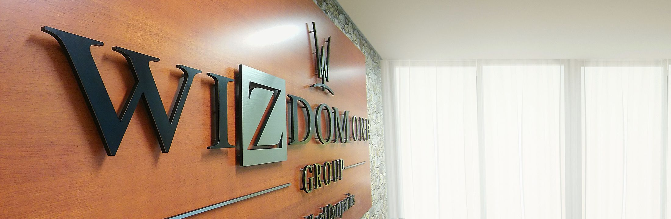 corporate signage with dimensional logo