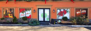 Holiday graphics for West Islip, NY retail store windows