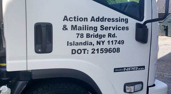 DOT lettering on van