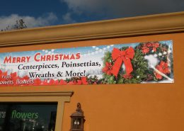 Holiday banner for retail flower shop