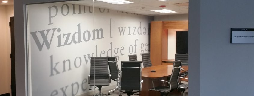Custom wallpaper in conference room