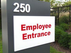 Employee Entrance sign