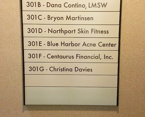 Interior directory sign for health care facility in Northport, NY