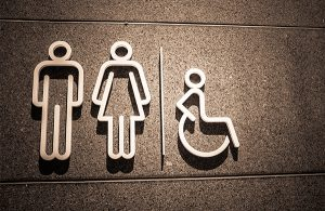 Restroom sign with raised icons