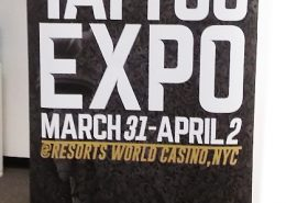 Temporary signage advertises indoor event in New York