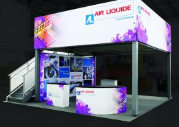 Color Matched trade show booth podiums, banners and headers