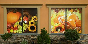 Seasonal window graphics for flower shop West Islip, NY