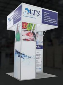 Trade show booth with headers