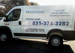 Vinyl lettering and logo on van