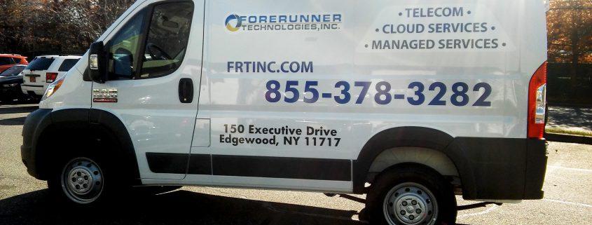 Vinyl lettering and logo on van