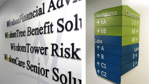 LEFT: office signage. RIGHT: wayfinding for classrooms.