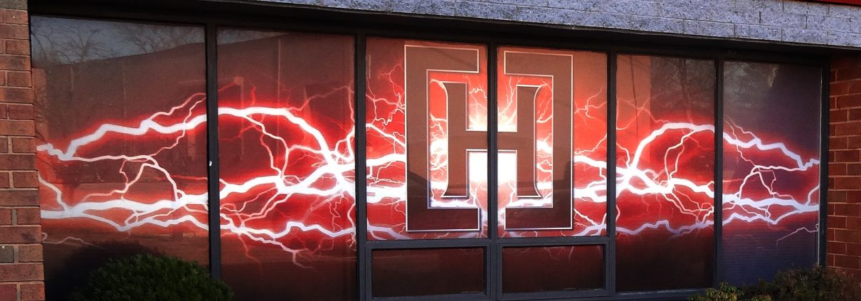 """grand """"lightning"""" logo rendered spectacularly in window perf"""