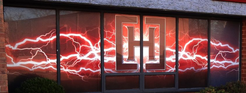 "grand ""lightning"" logo rendered spectacularly in window perf"