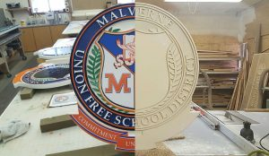 Painted sandblasted sign showing HDU substrate