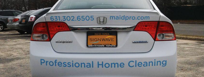 Vinyl lettering on back of Maidpro fleet