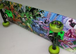 Vinyl graphics on a skateboard