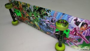 Vinyl graphics on a skateboard