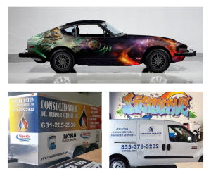 Full and partial wraps for cars, trucks, trailers and vans
