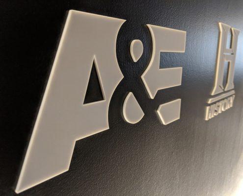 A&E logo wall graphics