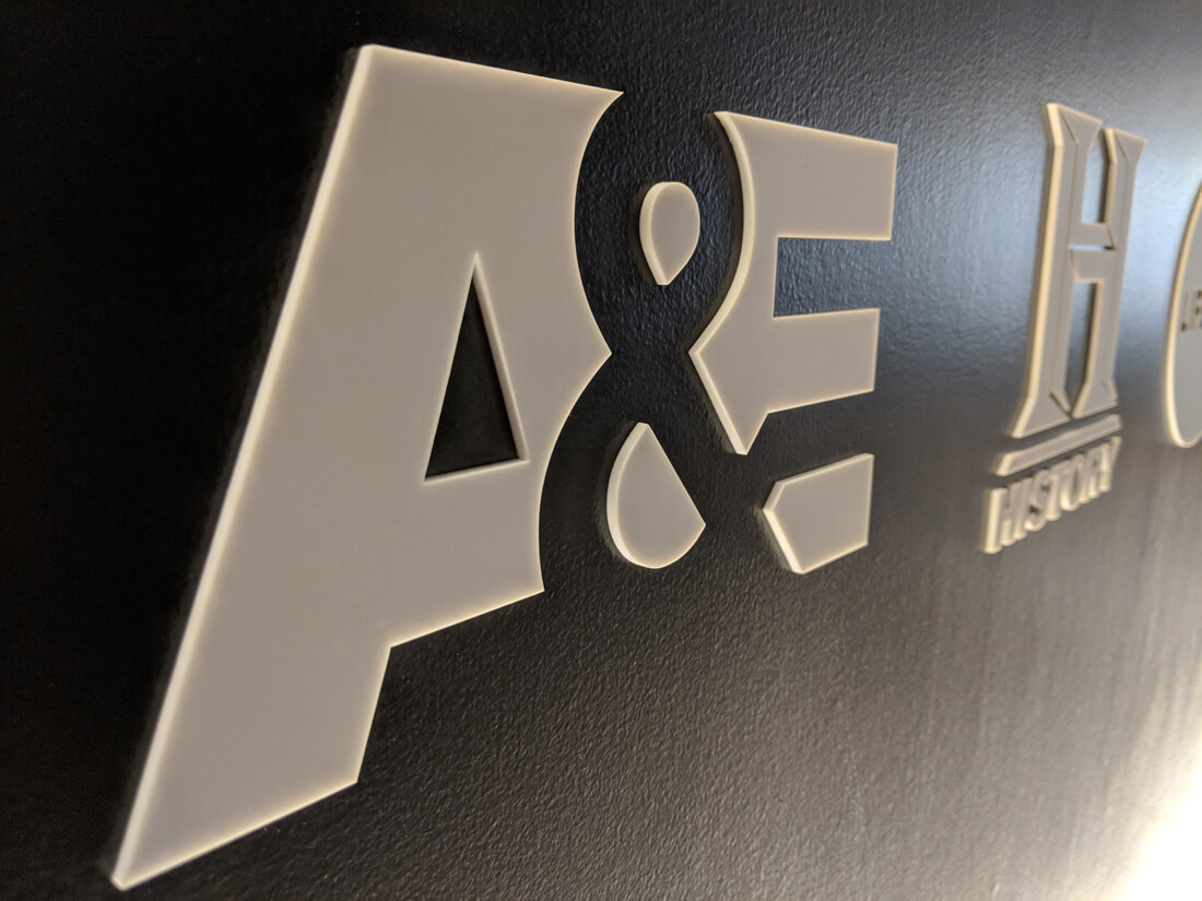 A&E logo wall graphics