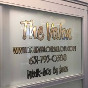 Salon signs, window treatments, wall treatments, gold vinyl