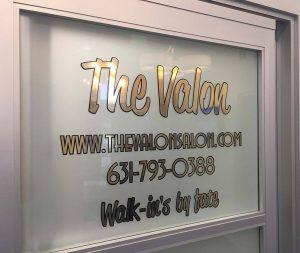 Salon signs, window treatments, wall treatments, gold vinyl