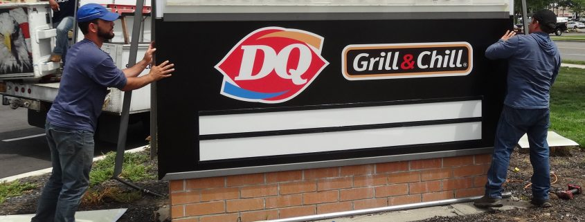 Installation of custom-branded changeable letter sign