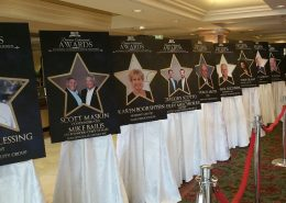 A series of posters honors award recipients.
