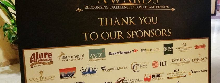 Sign showing event sponsor logos