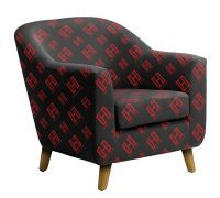 Custom branded fabric on an upholstered chair