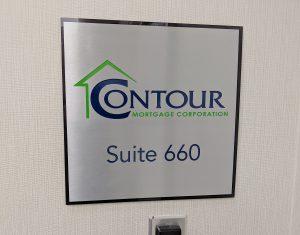 Brushed aluminum office sign
