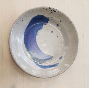 fired clay painted dish