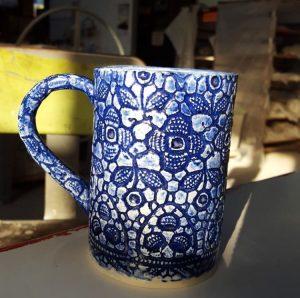 floral blue clay mug cup