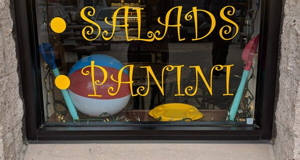 Vinyl lettering in a Retail Window