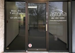 White cut vinyl on glass doors