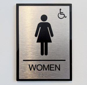 ADA women's room bathroom signage brushed aluminum