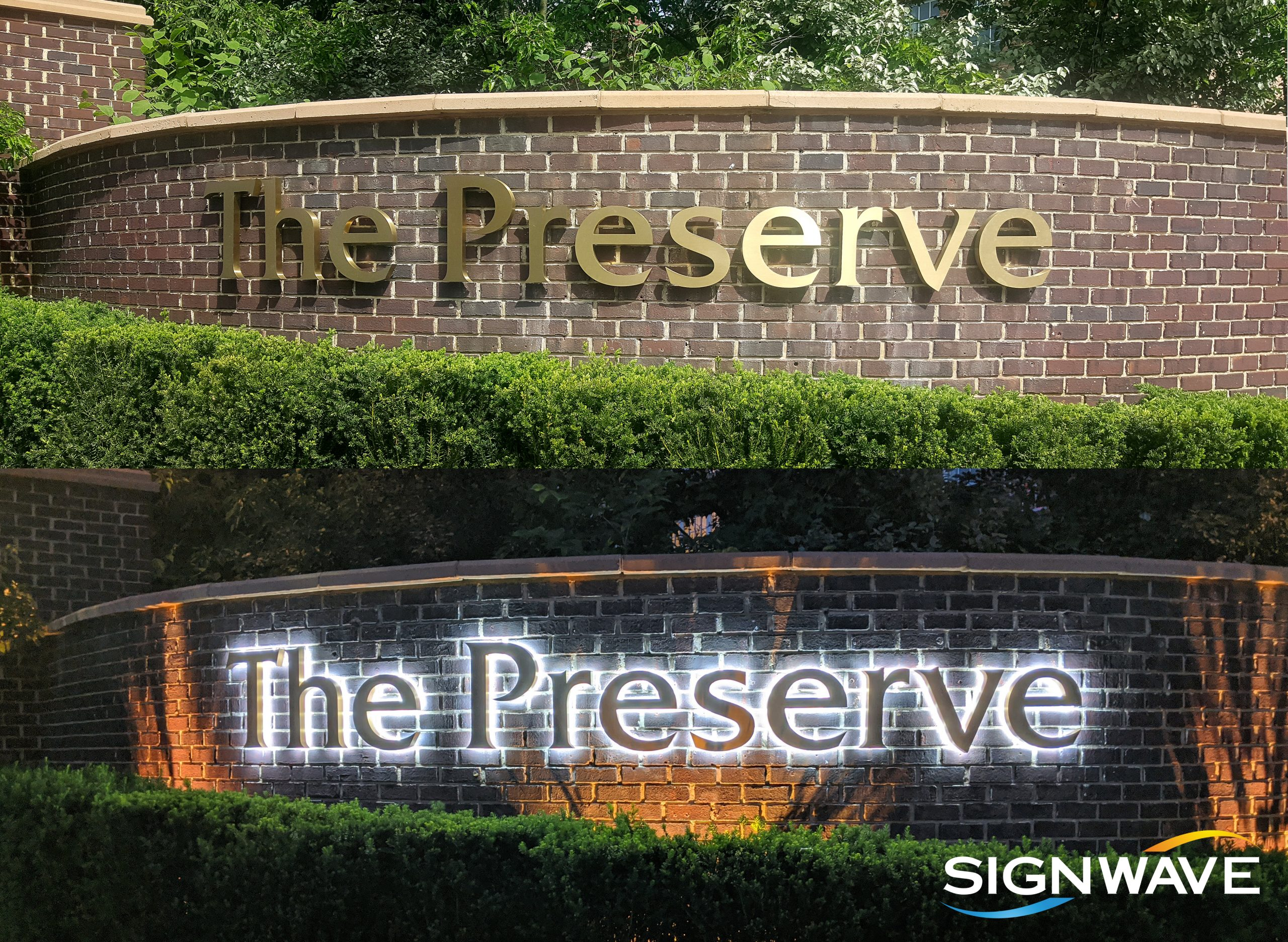 closeup view of The Preserve sign day and night version