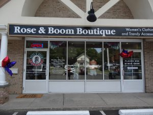 Storefront lightbox and window graphics for Rose & Boom Boutique, St James NY