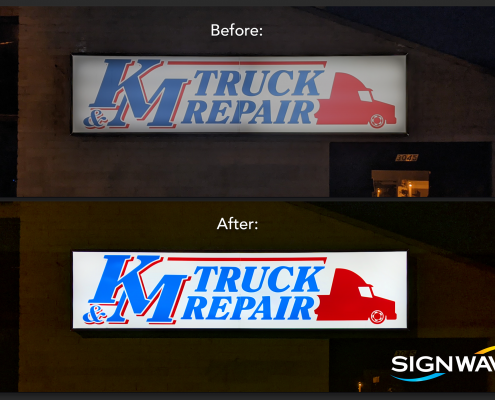 before and after of led retrofit sign