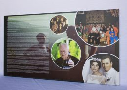 printed memorial with photos and text